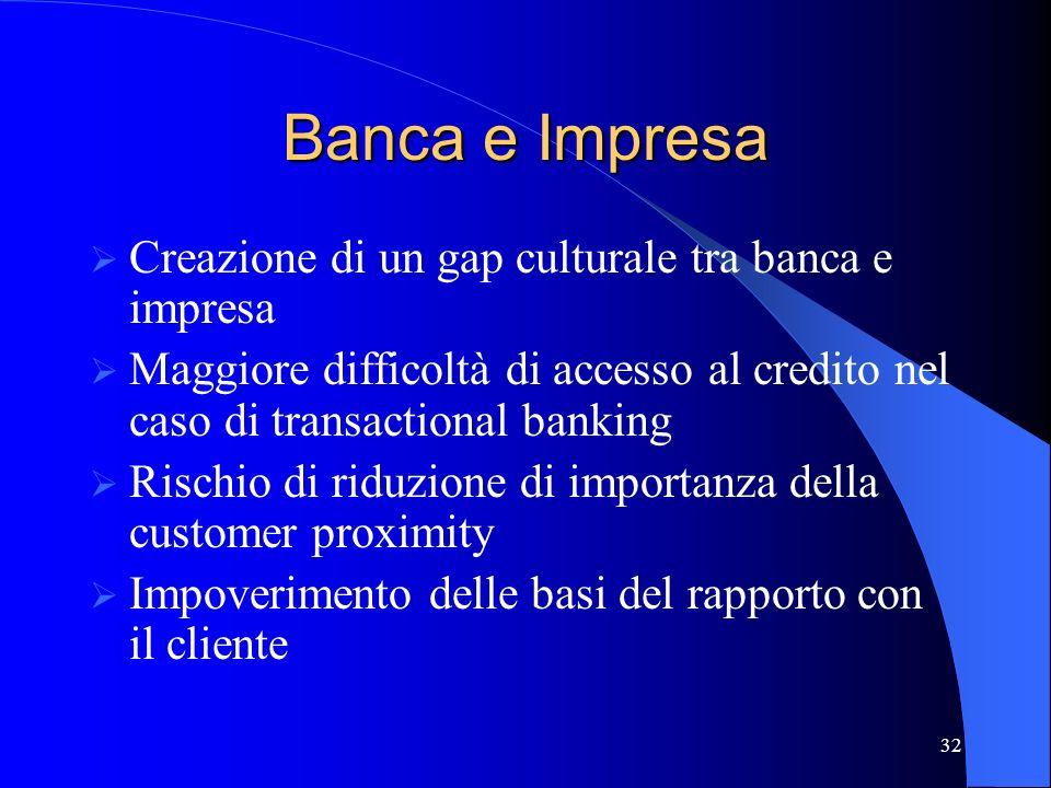 Banca e Impresa Creazione di un gap culturale tra banca e impresa