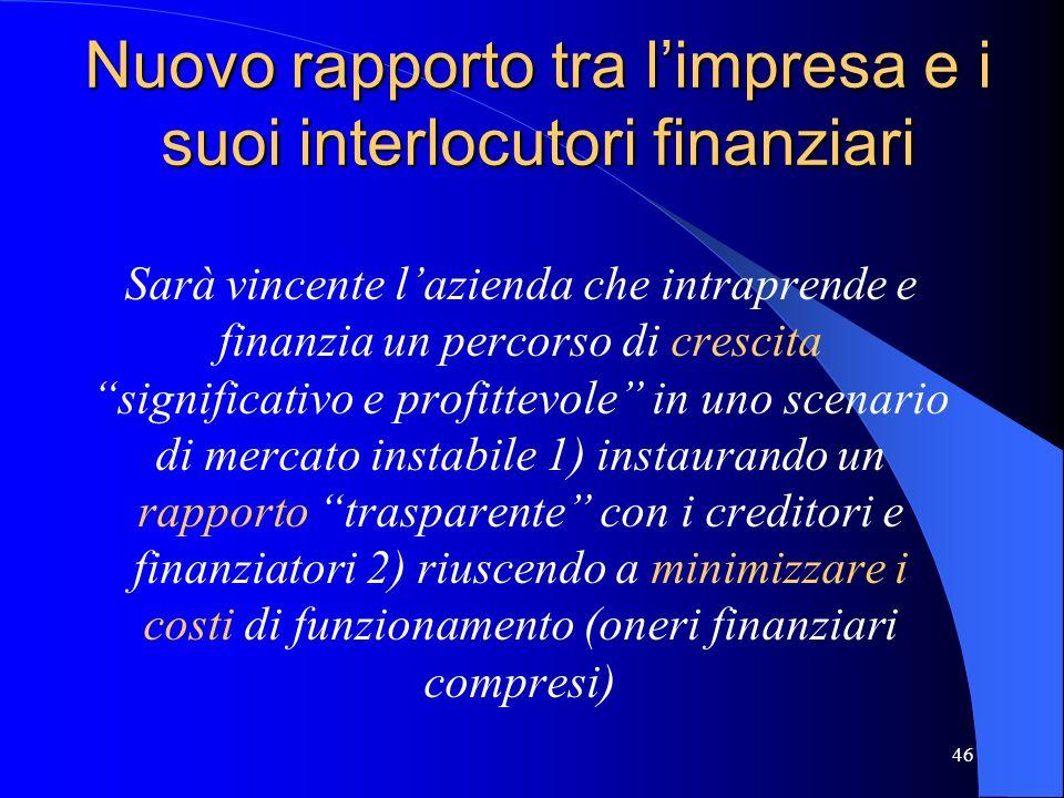 Nuovo rapporto tra l'impresa e i suoi interlocutori finanziari