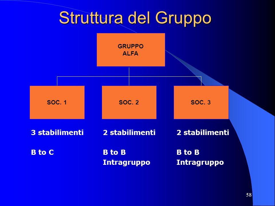 Struttura del Gruppo 3 stabilimenti B to C 2 stabilimenti B to B