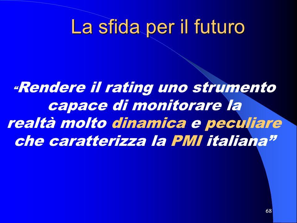 La sfida per il futuro Rendere il rating uno strumento capace di monitorare la realtà molto dinamica e peculiare che caratterizza la PMI italiana