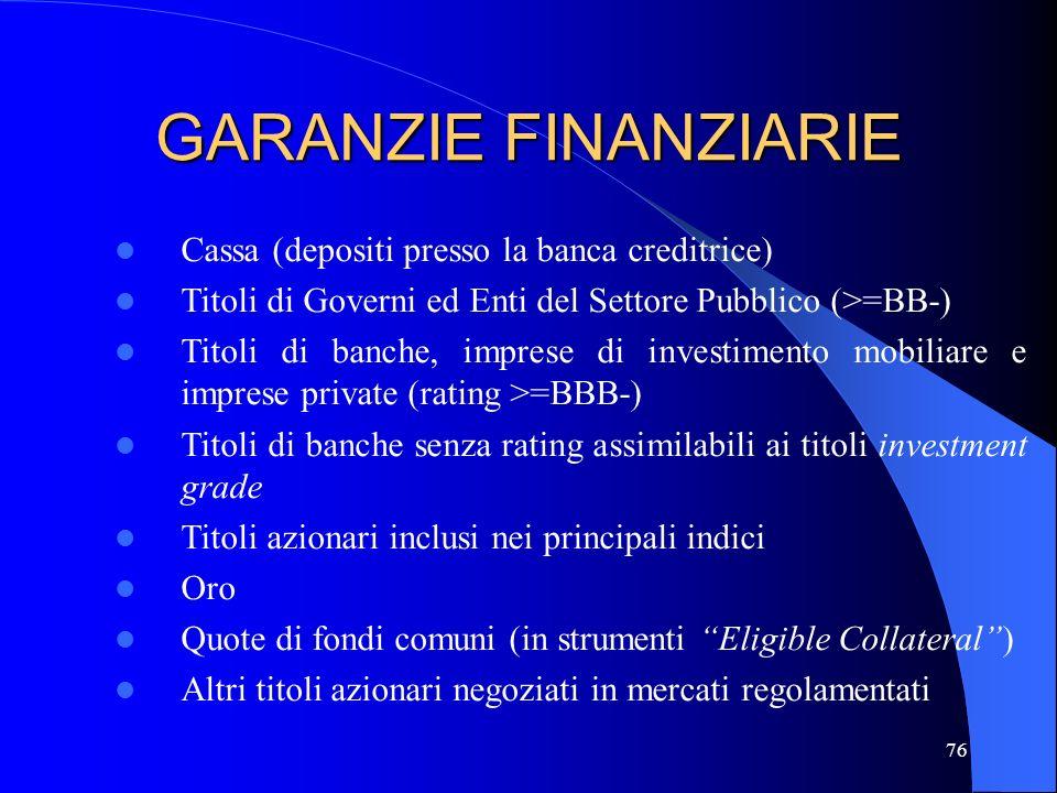 GARANZIE FINANZIARIE Cassa (depositi presso la banca creditrice)