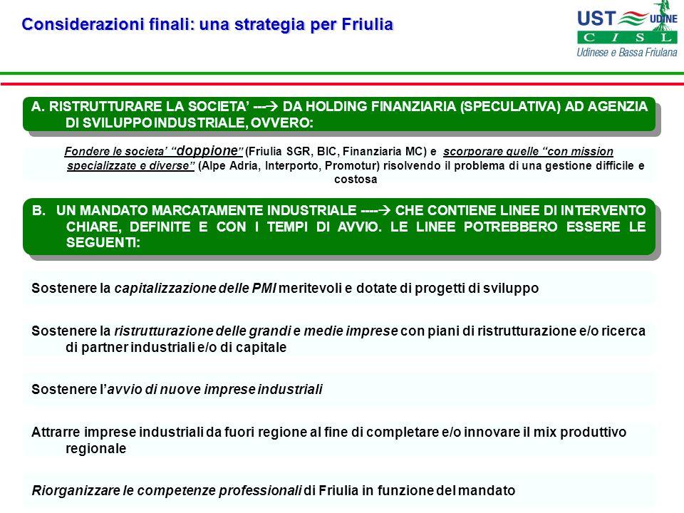 Considerazioni finali: una strategia per Friulia