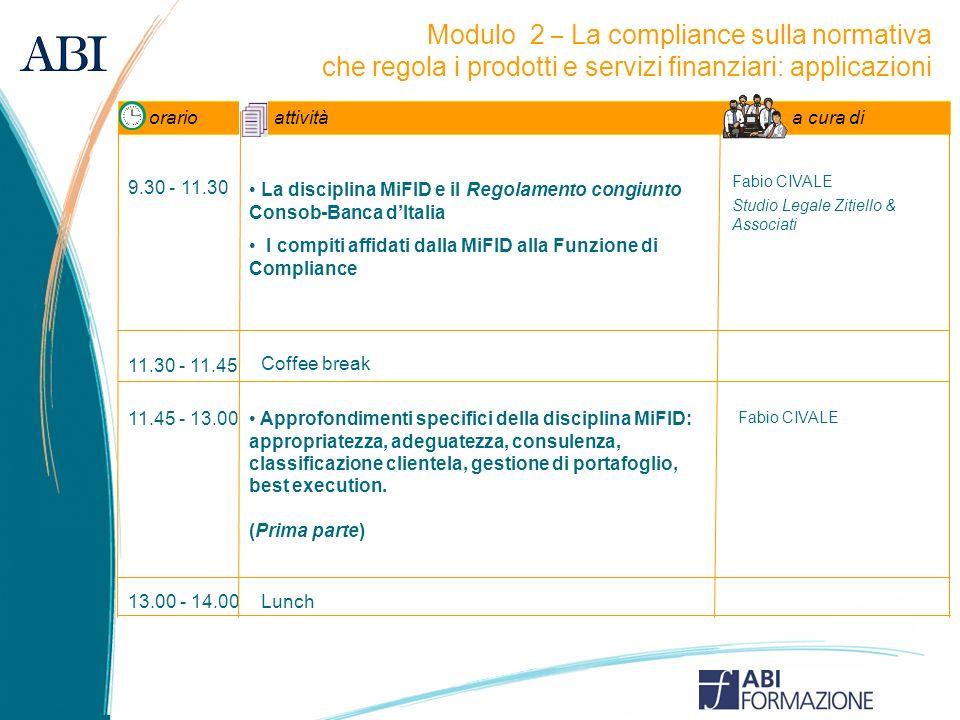 Modulo 2 – La compliance sulla normativa che regola i prodotti e servizi finanziari: applicazioni