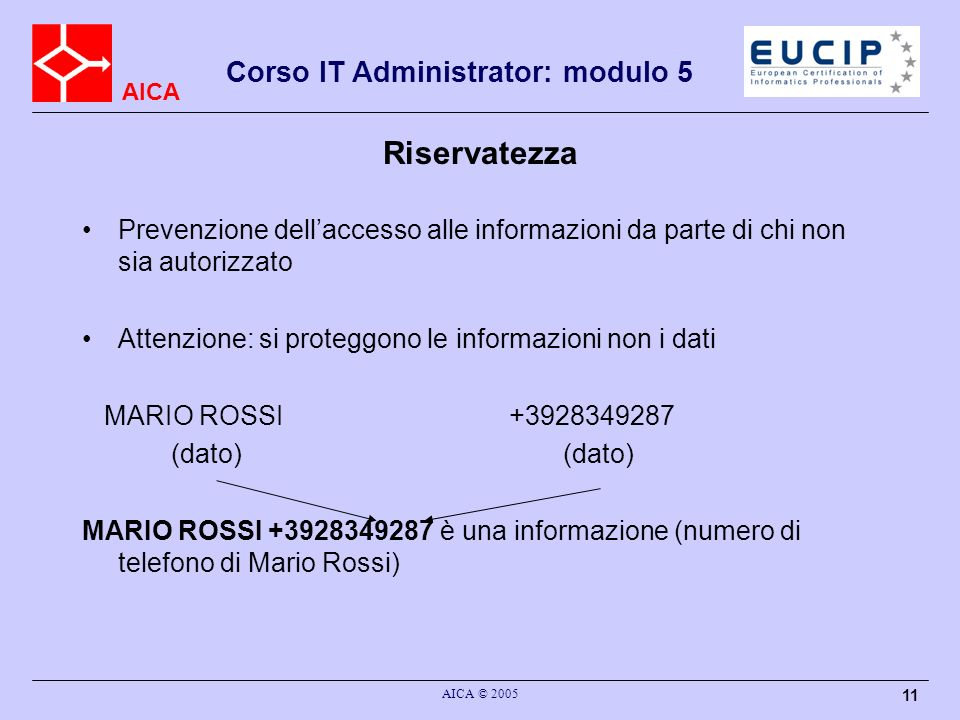RiservatezzaPrevenzione dell'accesso alle informazioni da parte di chi non sia autorizzato. Attenzione: si proteggono le informazioni non i dati.