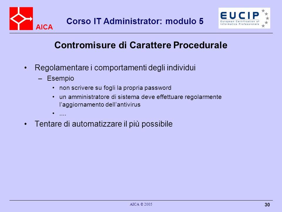 Contromisure di Carattere Procedurale