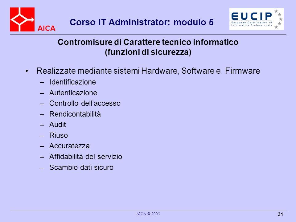 Contromisure di Carattere tecnico informatico (funzioni di sicurezza)