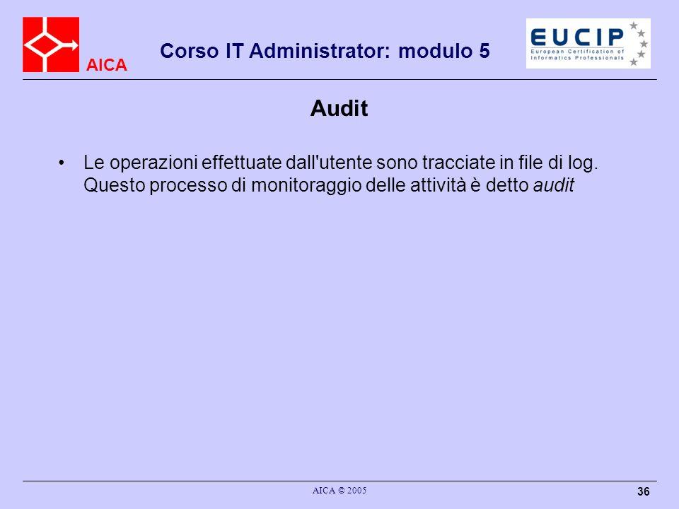 Audit Le operazioni effettuate dall utente sono tracciate in file di log. Questo processo di monitoraggio delle attività è detto audit.