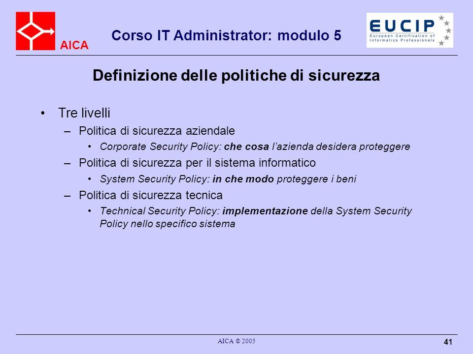 Definizione delle politiche di sicurezza