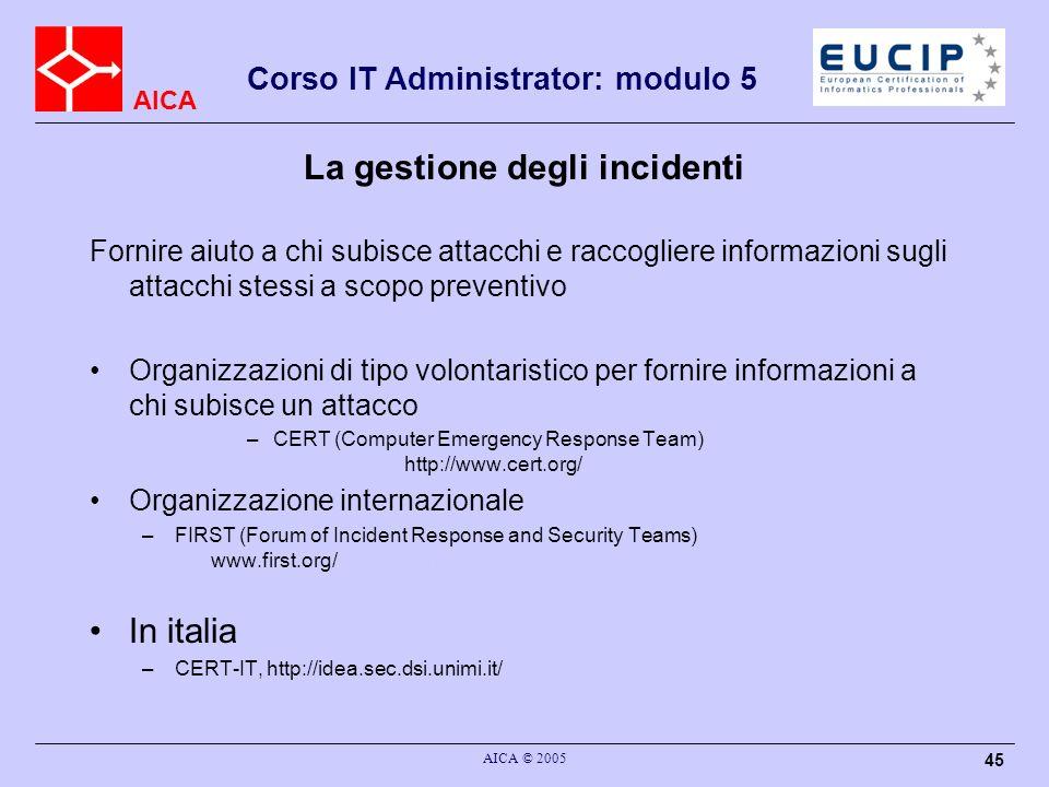 La gestione degli incidenti