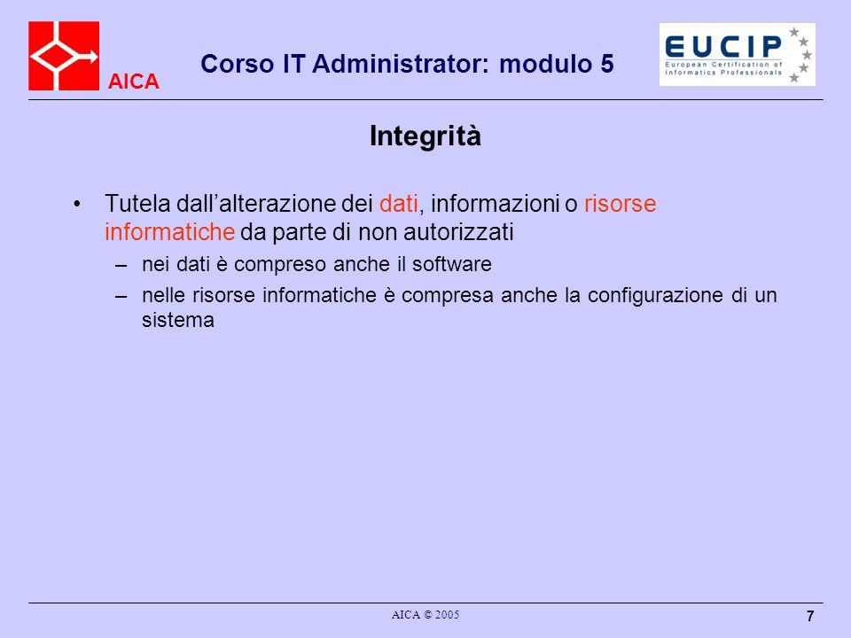 Integrità Tutela dall'alterazione dei dati, informazioni o risorse informatiche da parte di non autorizzati.