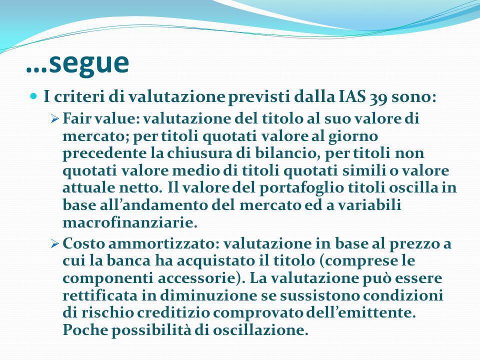 …segue I criteri di valutazione previsti dalla IAS 39 sono: