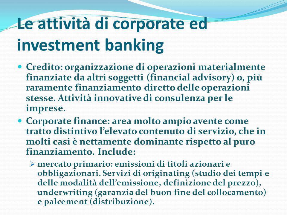 Le attività di corporate ed investment banking