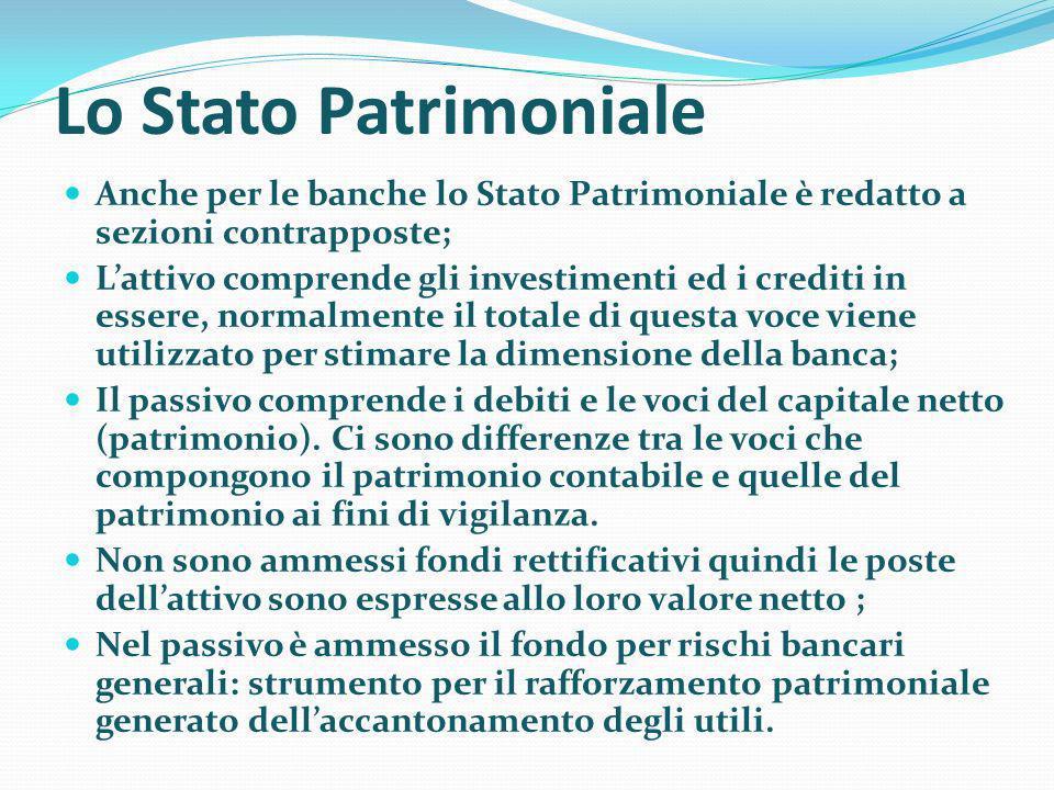 Lo Stato Patrimoniale Anche per le banche lo Stato Patrimoniale è redatto a sezioni contrapposte;