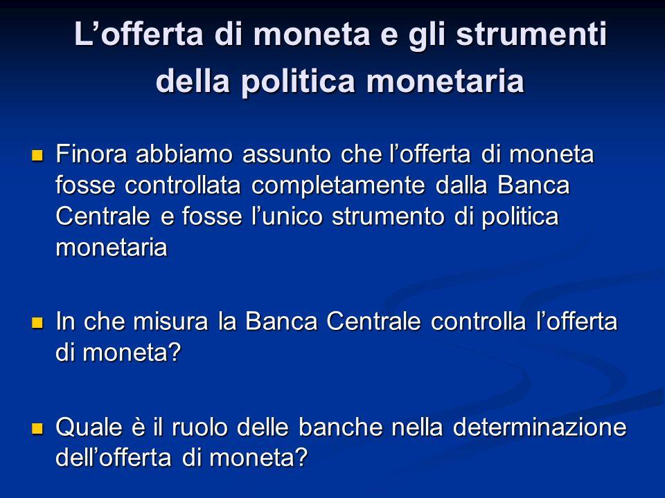 L'offerta di moneta e gli strumenti della politica monetaria