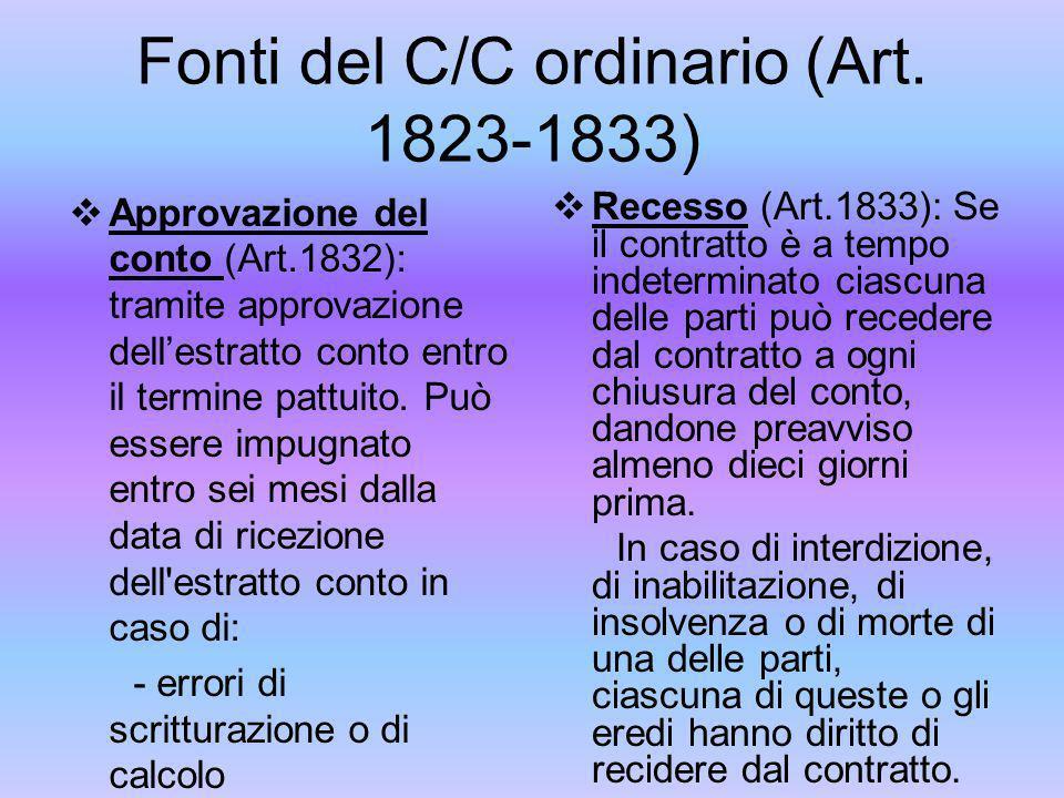 Fonti del C/C ordinario (Art. 1823-1833)