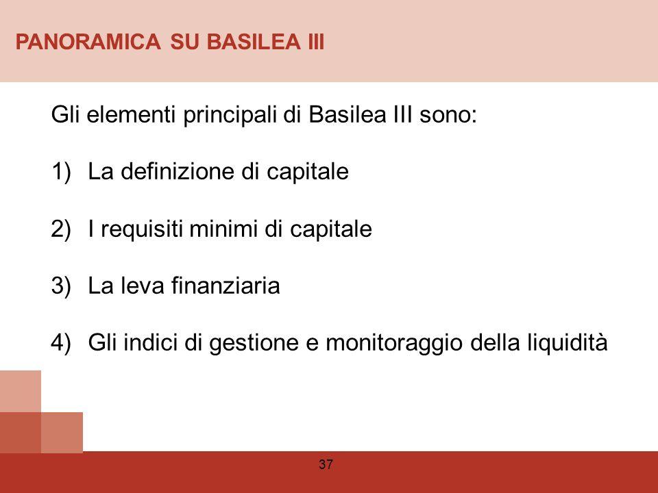 Gli elementi principali di Basilea III sono: