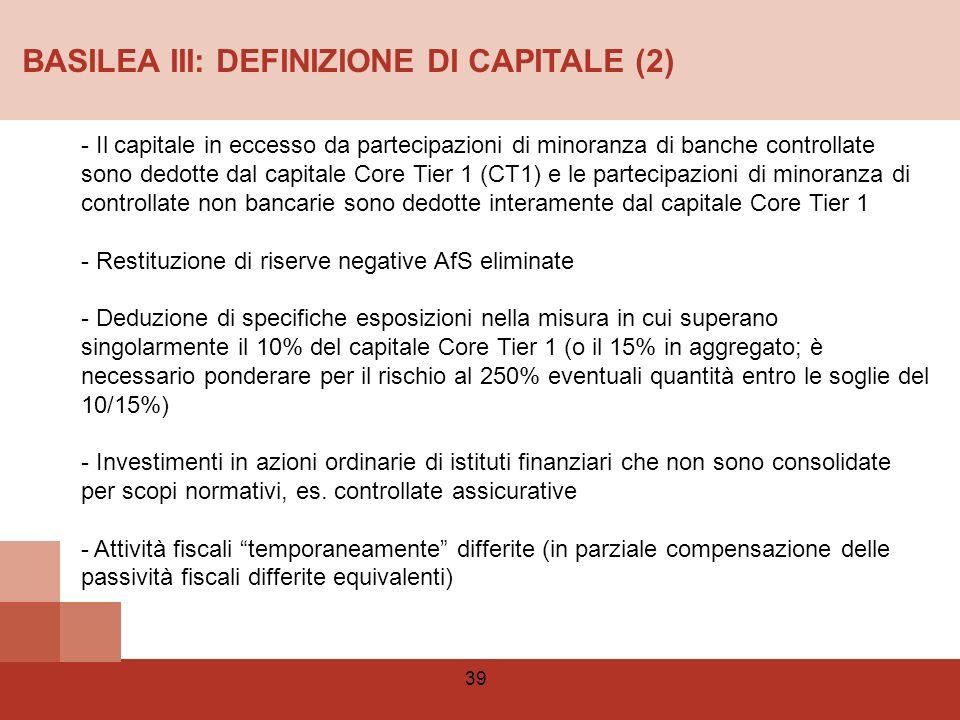 BASILEA III: DEFINIZIONE DI CAPITALE (2)