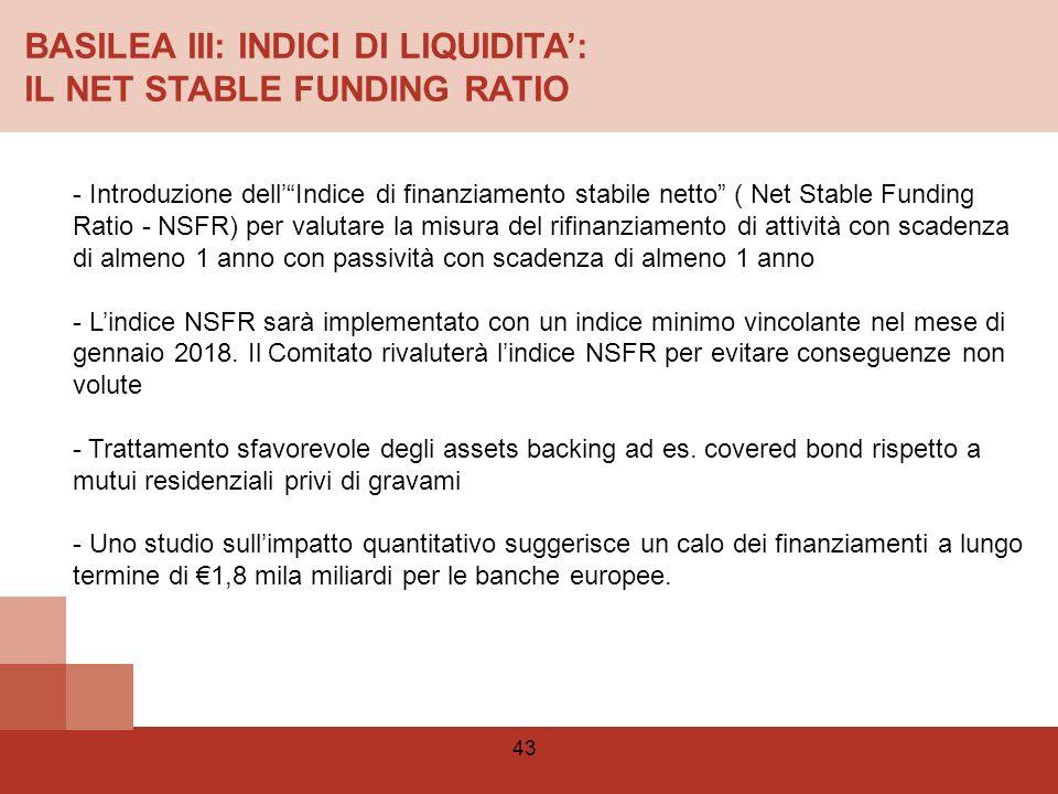 BASILEA III: INDICI DI LIQUIDITA': IL NET STABLE FUNDING RATIO