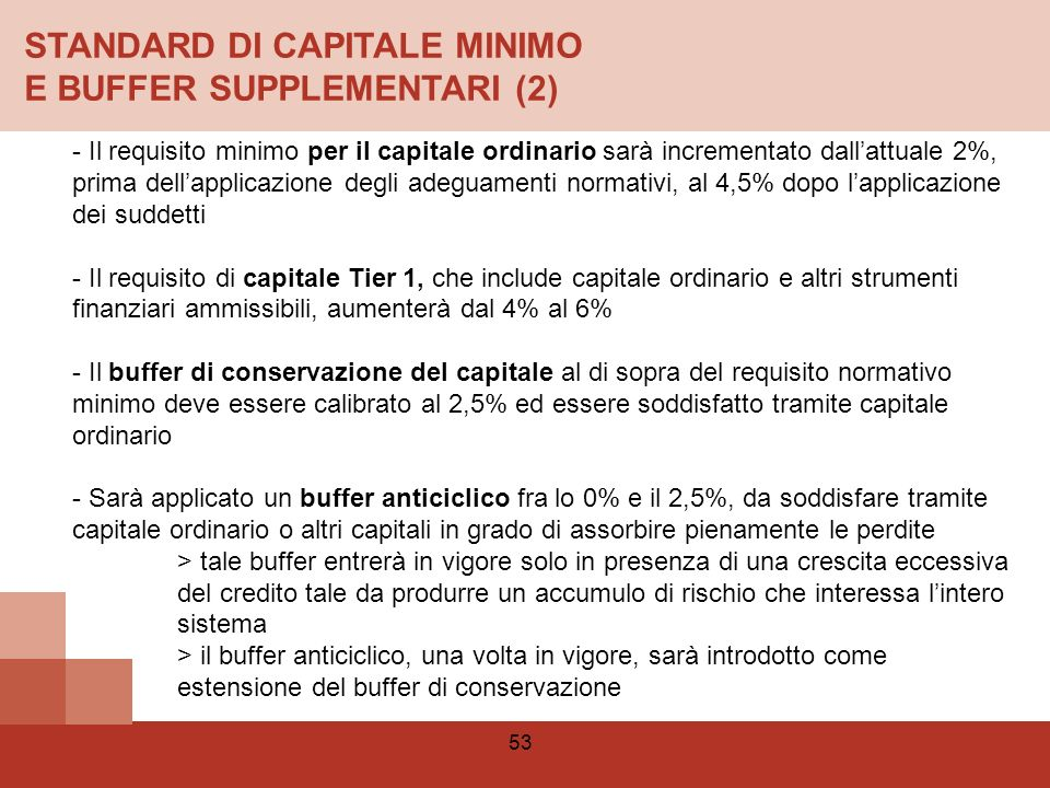 STANDARD DI CAPITALE MINIMO E BUFFER SUPPLEMENTARI (2)