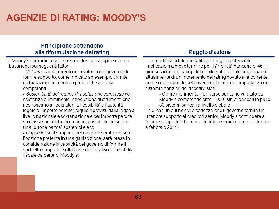 Principi che sottendono alla riformulazione del rating