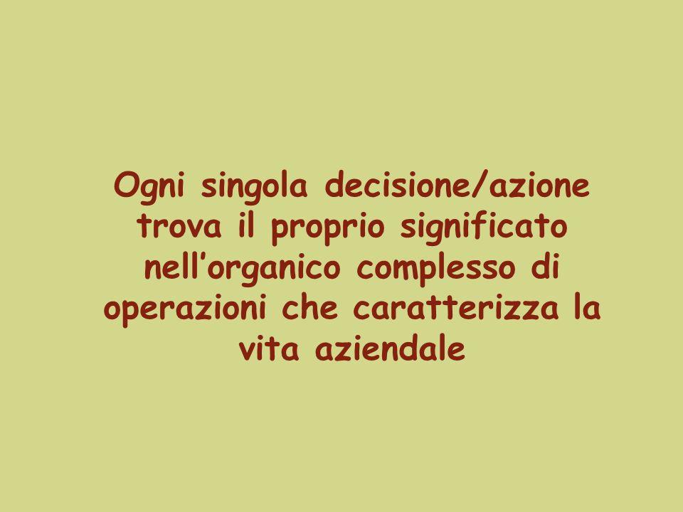Ogni singola decisione/azione trova il proprio significato nell'organico complesso di operazioni che caratterizza la vita aziendale