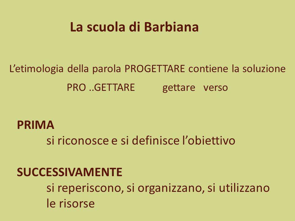 La scuola di Barbiana PRIMA si riconosce e si definisce l'obiettivo