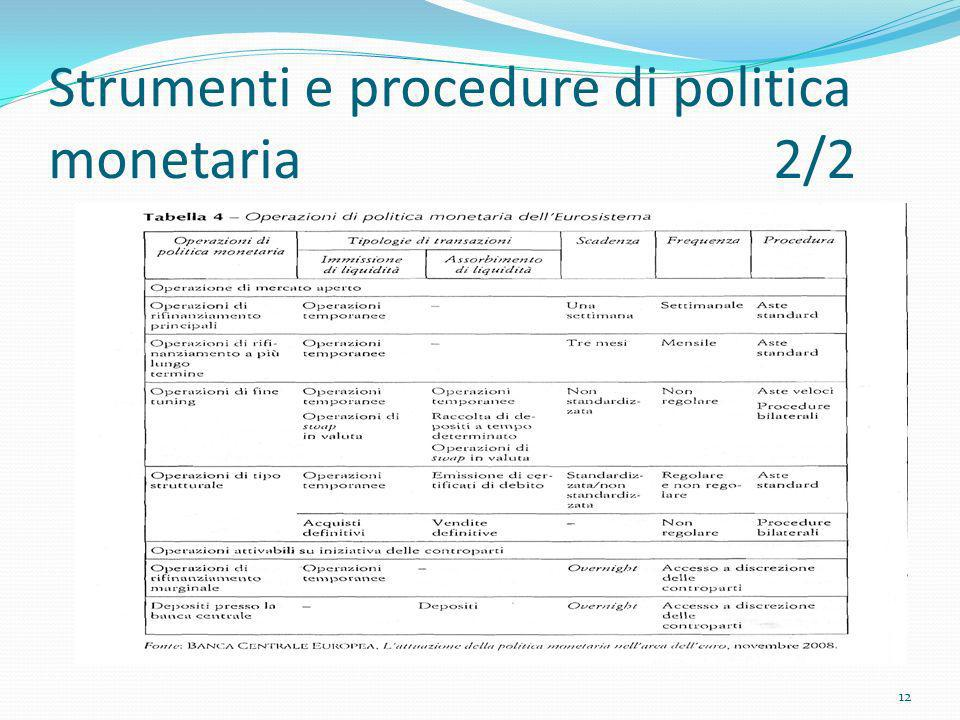 Strumenti e procedure di politica monetaria 2/2