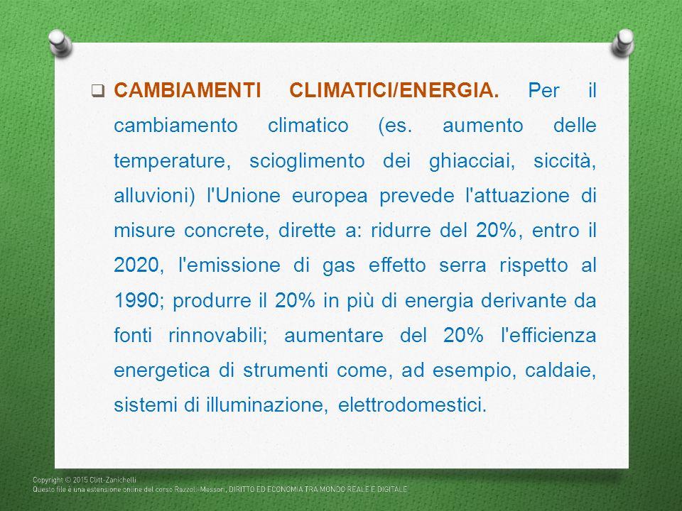 CAMBIAMENTI CLIMATICI/ENERGIA. Per il cambiamento climatico (es