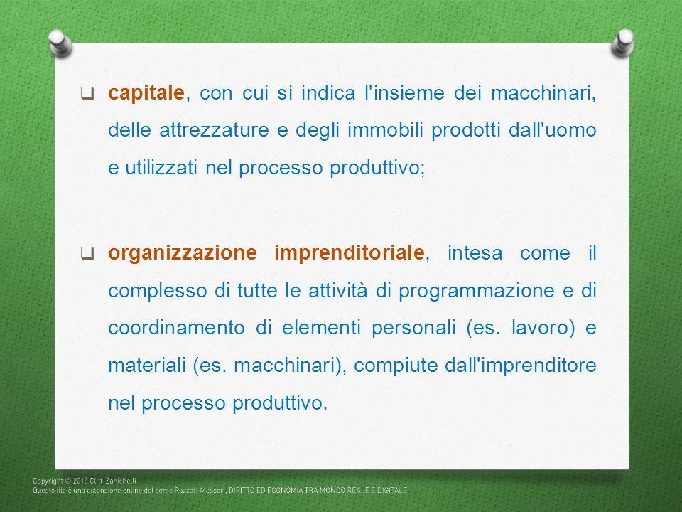 capitale, con cui si indica l insieme dei macchinari, delle attrezzature e degli immobili prodotti dall uomo e utilizzati nel processo produttivo;