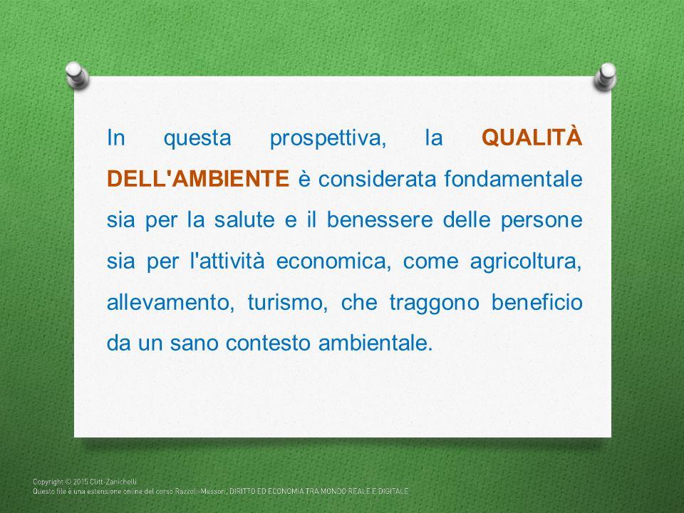 In questa prospettiva, la QUALITÀ DELL AMBIENTE è considerata fondamentale sia per la salute e il benessere delle persone sia per l attività economica, come agricoltura, allevamento, turismo, che traggono beneficio da un sano contesto ambientale.