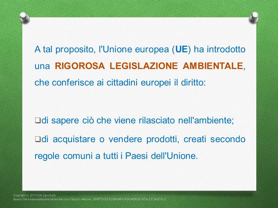A tal proposito, l Unione europea (UE) ha introdotto una RIGOROSA LEGISLAZIONE AMBIENTALE, che conferisce ai cittadini europei il diritto: