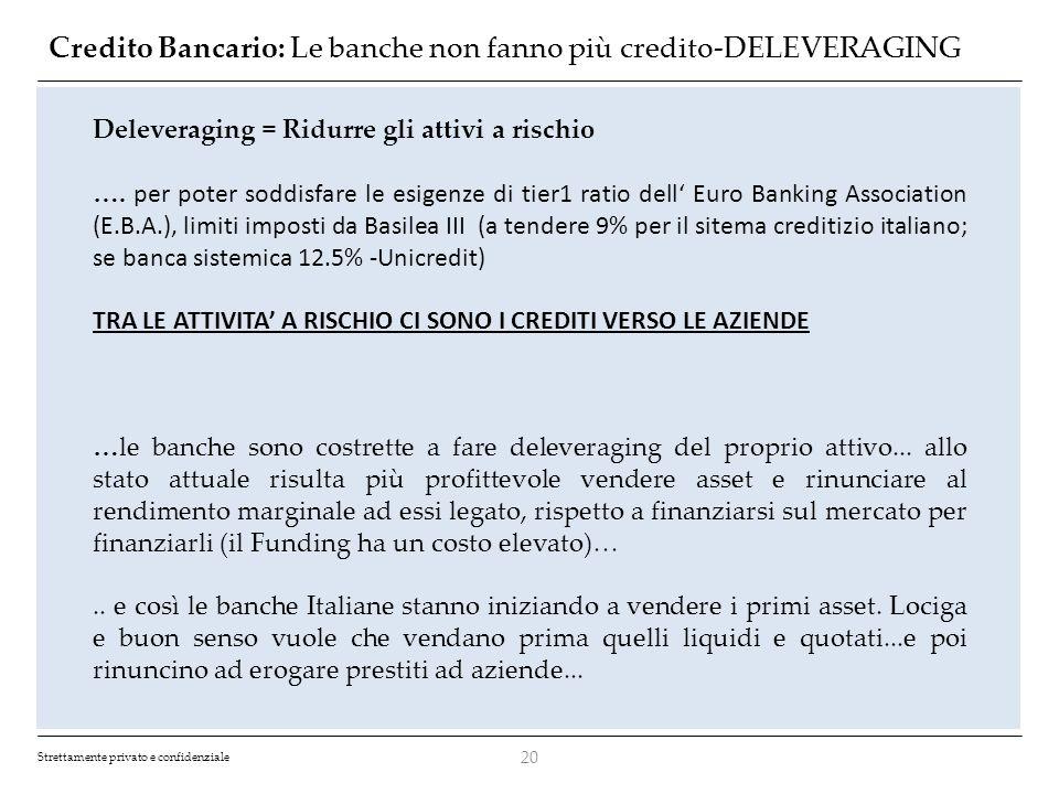 Credito Bancario: Le banche non fanno più credito-DELEVERAGING
