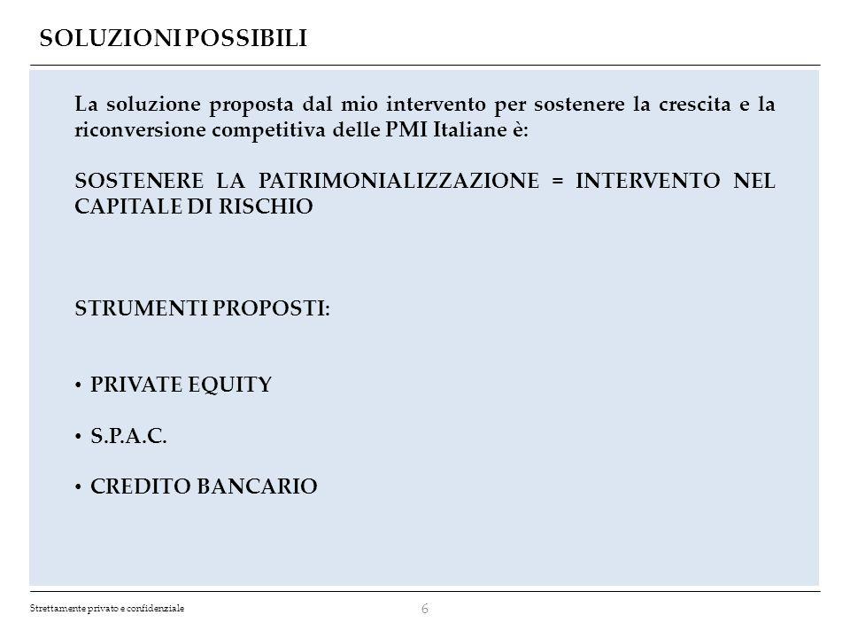 SOLUZIONI POSSIBILI La soluzione proposta dal mio intervento per sostenere la crescita e la riconversione competitiva delle PMI Italiane è: