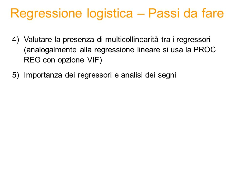 Regressione logistica – Passi da fare