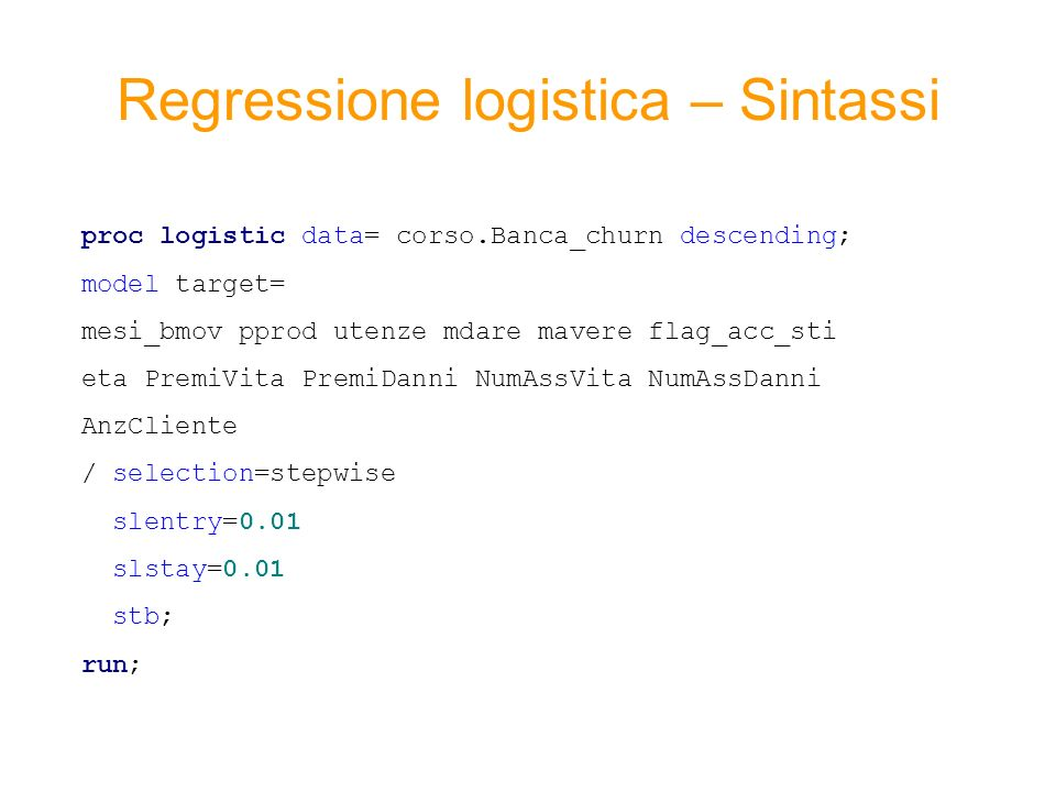 Regressione logistica – Sintassi