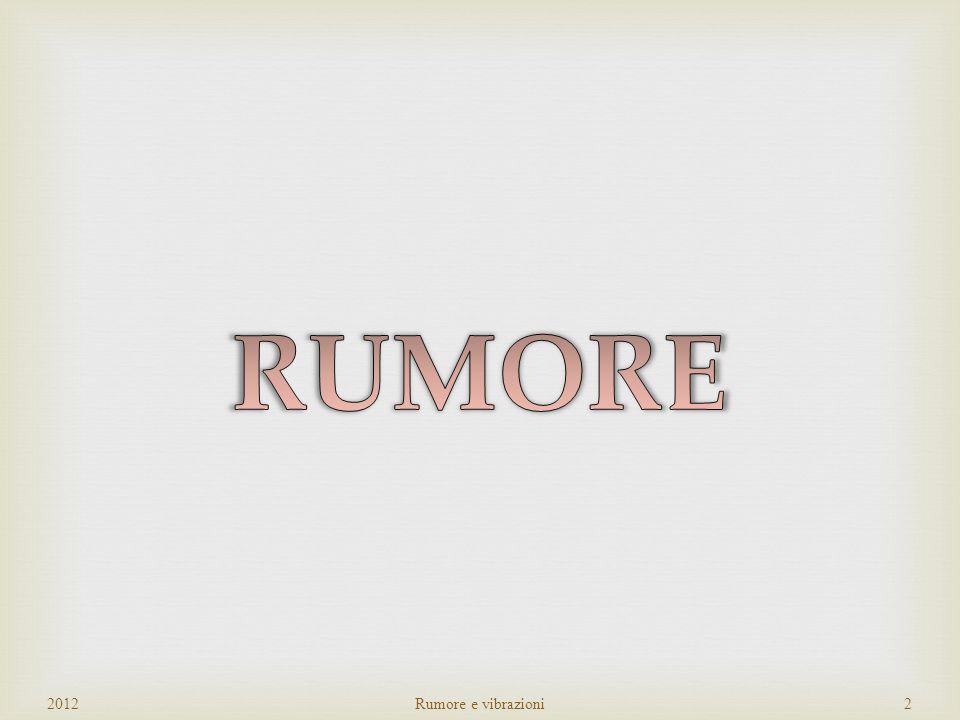 RUMORE 2012 Rumore e vibrazioni