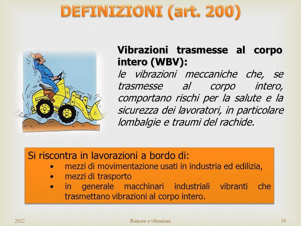 DEFINIZIONI (art. 200) Vibrazioni trasmesse al corpo intero (WBV):
