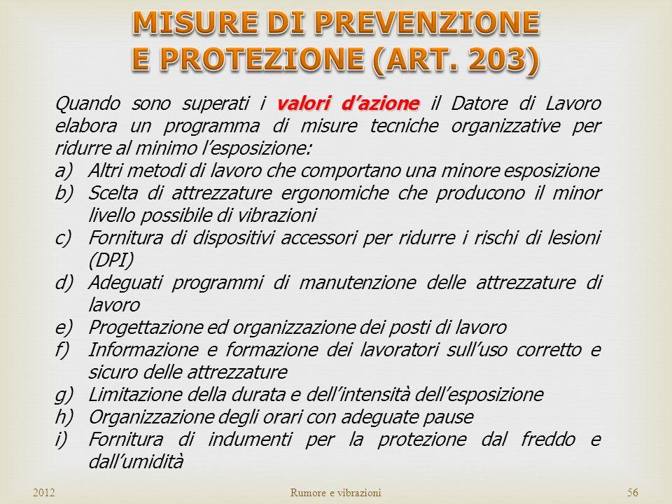 MISURE DI PREVENZIONE E PROTEZIONE (ART. 203)