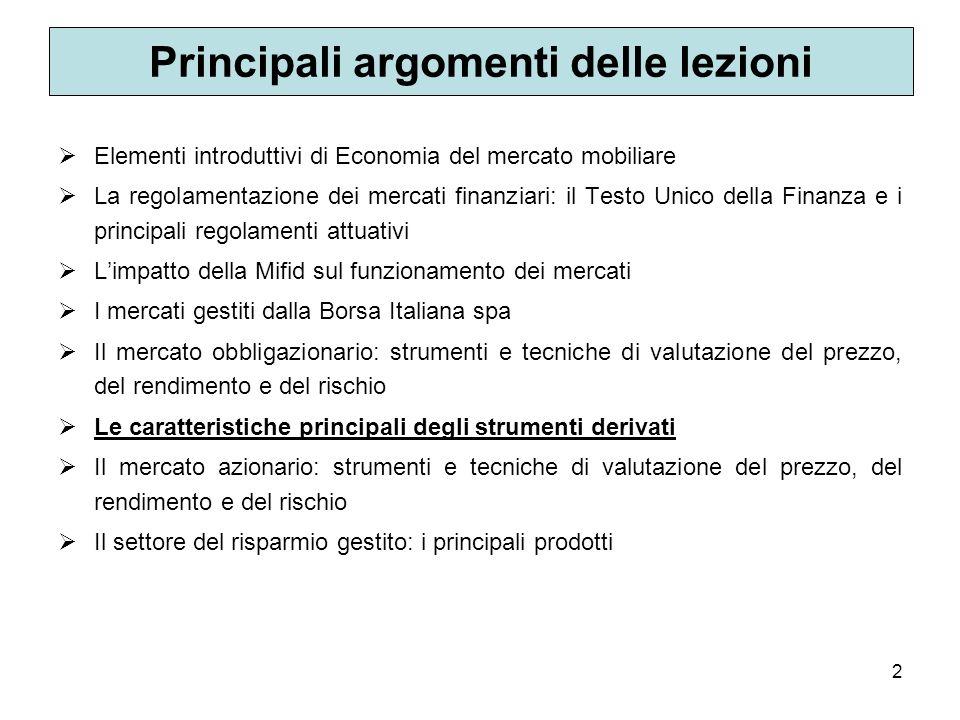 Principali argomenti delle lezioni