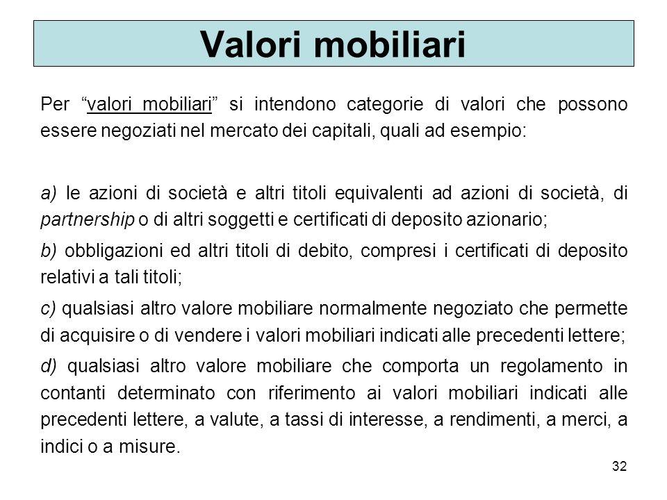 Valori mobiliari Per valori mobiliari si intendono categorie di valori che possono essere negoziati nel mercato dei capitali, quali ad esempio: