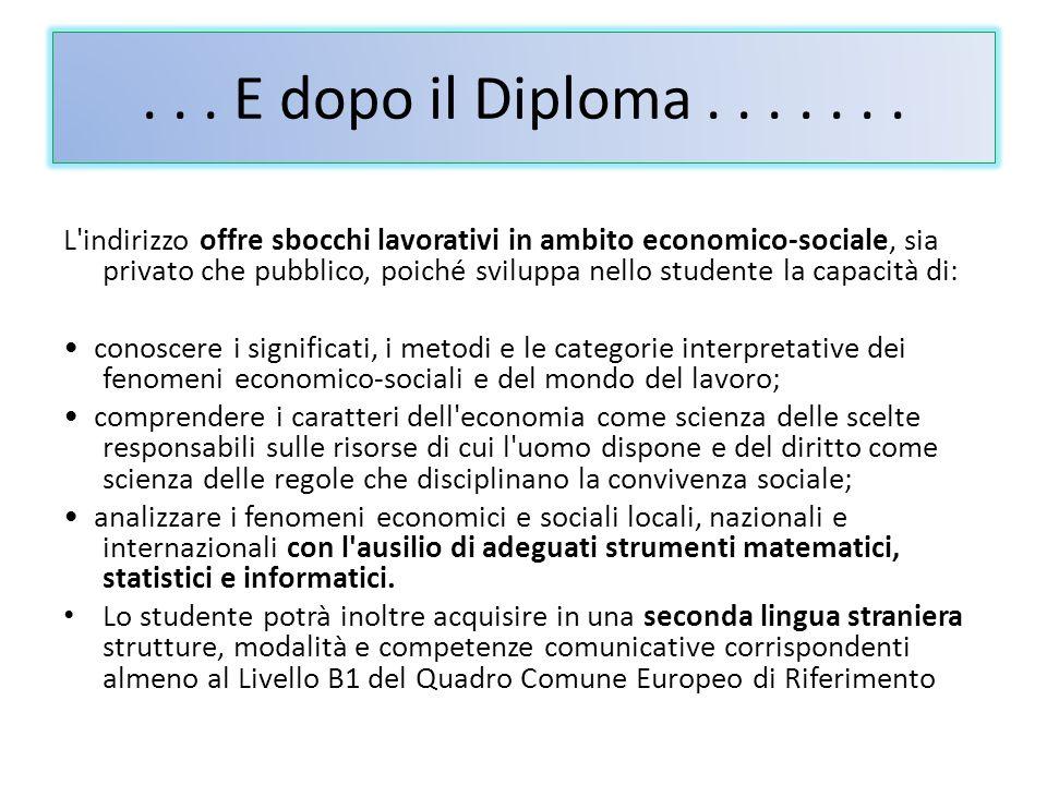 . . . E dopo il Diploma . . . . . . .