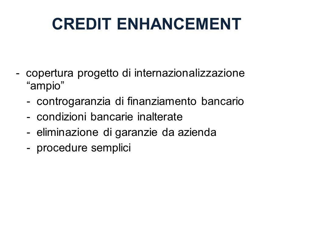 CREDIT ENHANCEMENT - copertura progetto di internazionalizzazione ampio - controgaranzia di finanziamento bancario.