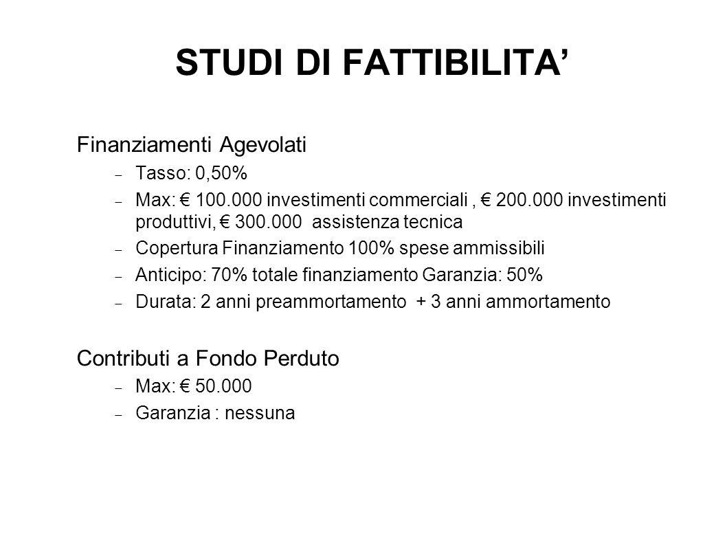STUDI DI FATTIBILITA' Finanziamenti Agevolati