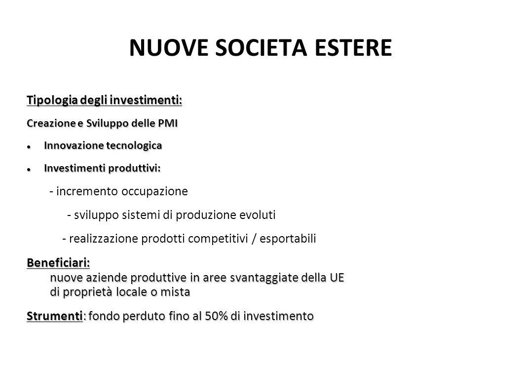 NUOVE SOCIETA ESTERE Tipologia degli investimenti: