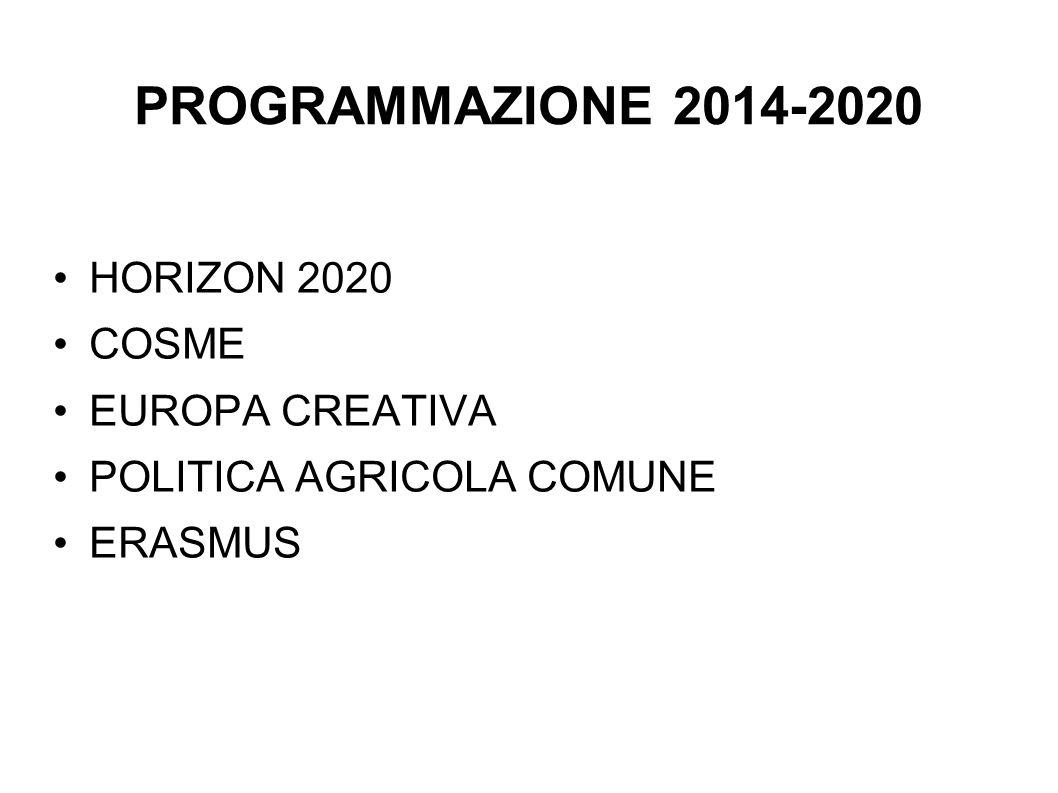 PROGRAMMAZIONE 2014-2020 HORIZON 2020 COSME EUROPA CREATIVA