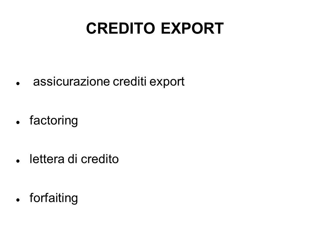 CREDITO EXPORT assicurazione crediti export factoring