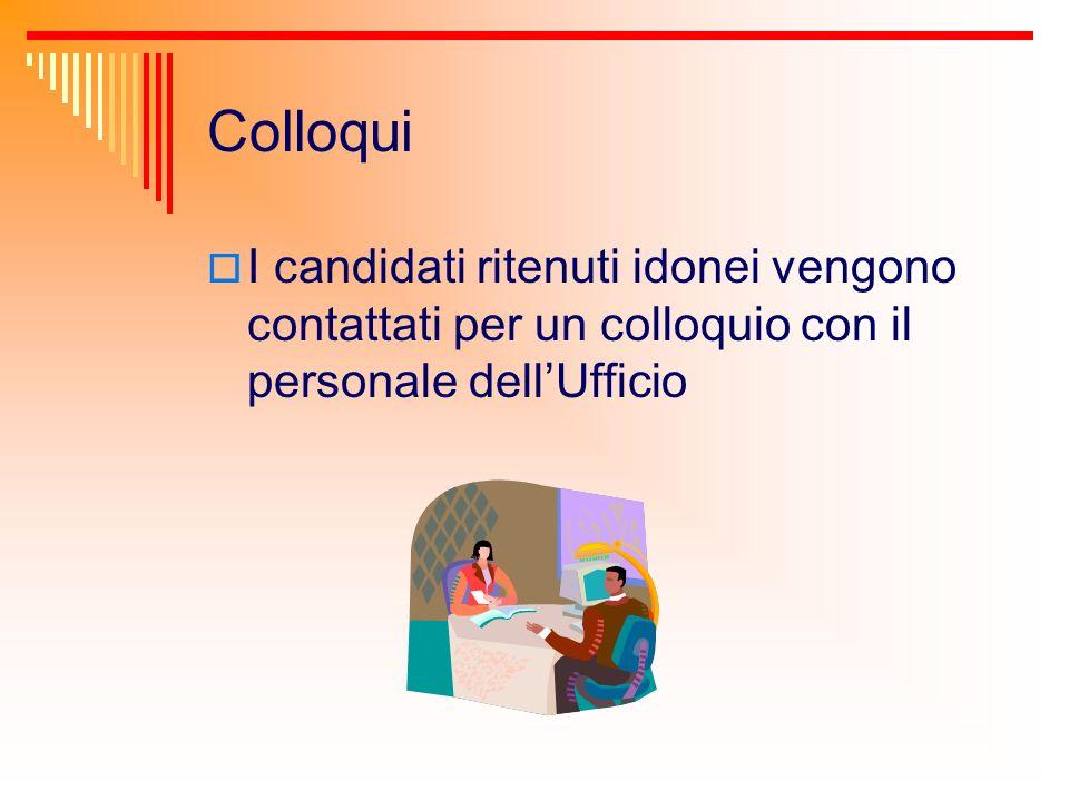 Colloqui I candidati ritenuti idonei vengono contattati per un colloquio con il personale dell'Ufficio.