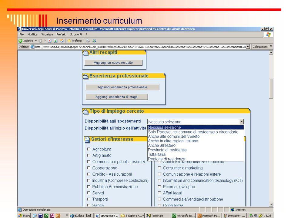 Inserimento curriculum