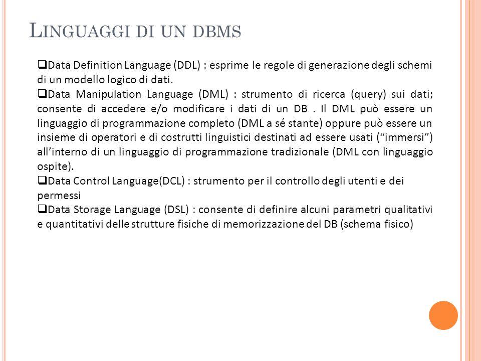 Linguaggi di un dbms Data Definition Language (DDL) : esprime le regole di generazione degli schemi di un modello logico di dati.