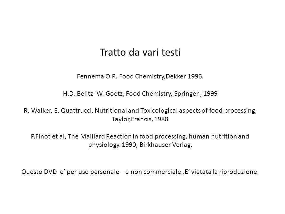 Tratto da vari testi Fennema O. R. Food Chemistry,Dekker 1996. H. D